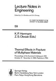 Cover of: Thermal Effects in Fracture of Multiphase Materials | Klaus P. Herrmann