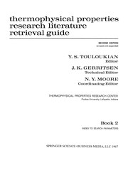 Cover of: Thermophysical Properties Research Literature Retrieval Guide | Y. S. Touloukian
