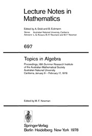 Cover of: Topics in algebra |