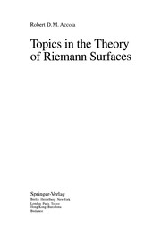 Cover of: Topics in the theory of Riemann surfaces