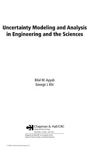 Cover of: Uncertainty modeling and analysis in engineering and the sciences
