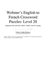 Websters English to French crossword puzzles