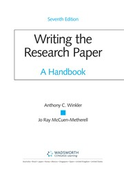 Cover of: Writing the research paper | Anthony C. Winkler