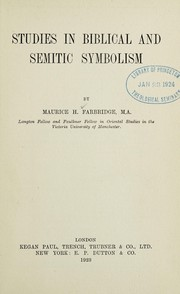Cover of: Studies in Biblical and Semitic symbolism | Maurice Harry Farbridge