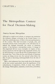 Metropolitan America; fiscal patterns and governmental systems