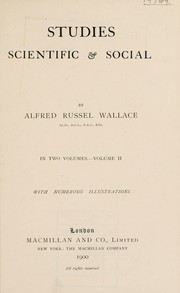 Cover of: Studies scientific & social | Alfred Russel Wallace