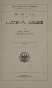 Cover of: Educational research | Bird T. Baldwin