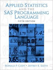 Applied statistics and the SAS programming language by Ronald P. Cody