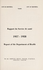 Cover of: Report of the Department of Health | MontrпїЅal (QuпїЅbec). Department of Public Health