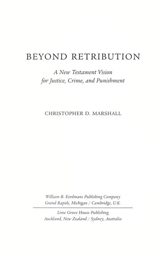 Beyond retribution by Christopher D. Marshall