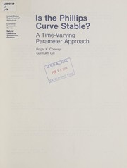 Cover of: Is the Phillips curve stable? | Roger K. Conway