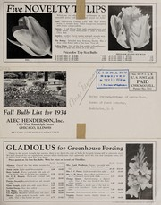 Cover of: Florist list, forcing bulbs for 1934 | Alec Henderson, Inc