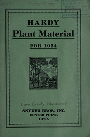 Cover of: Hardy plant material for 1934 | Snyder Bros, Inc