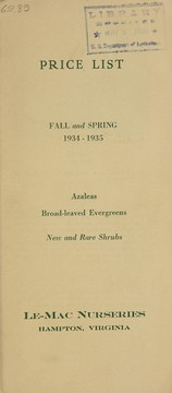 Cover of: Price list, fall and spring 1934-1935 | Le-Mac Nurseries