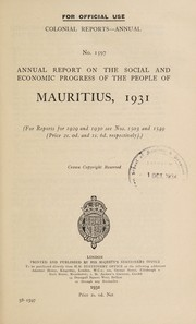 Annual report on the social and economic progress of the people of Mauritius