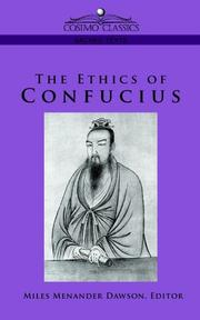 Cover of: The Ethics of Confucius (Cosimo Classics Sacred Texts) | Miles Menander Dawson