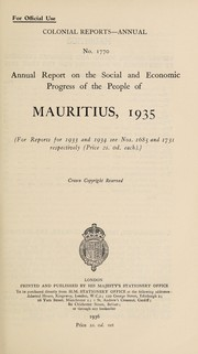Cover of: Annual report on the social and economic progress of the people of Mauritius |