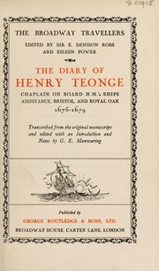 Cover of: The diary of Henry Teonge, chaplain on board H.M.