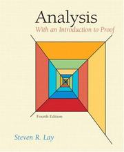 Cover of: Analysis | Steven R. Lay