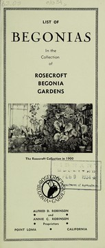Cover of: List of begonias in the collection of Rosecroft Begonia Gardens | Rosecroft Begonia Gardens