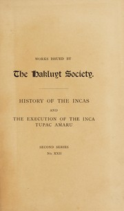 Cover of: History of the Incas | Pedro Sarmiento de Gamboa