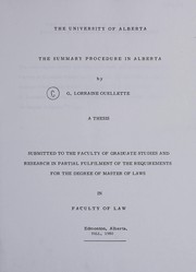 Cover of: The summary procedure in Alberta