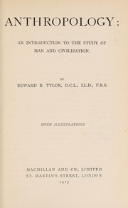 Cover of: Anthropology | Edward B. Tylor