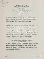 Cover of: Statement by Jim Williams, Deputy Secretary of Agriculture before the Committee on Energy and Natural Resources, Honorable Henry M. Jackson, Chairman, United States Senate | James Hunter Williams
