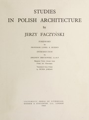 Cover of: Studies in Polish architecture | Jerzy Faczynski