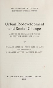 Cover of: Urban redevelopment and social change