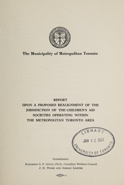 Cover of: Report upon a proposed realignment of the jurisdiction of the children