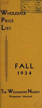Cover of: Wholesale price list, fall 1934