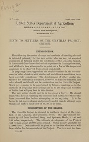 Cover of: Hints to settlers on the Umatilla project,Oregon | United States. Office of Farm Management