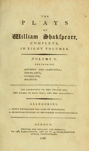 Cover of: The plays of William Shakspeare | William Shakespeare