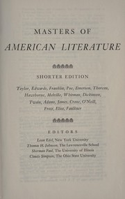 Cover of: Masters of American literature. | Gordon Norton Ray