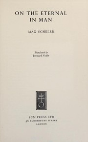 Cover of: On the eternal in man. | Max Scheler