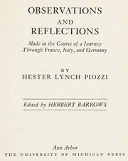 Cover of: Observations and reflections | Hester Lynch Piozzi