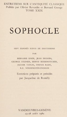 Sophocle by Bernard MacGregor Walker Knox, Jacqueline de Romilly