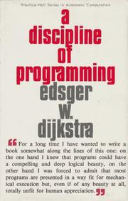 Cover of: A discipline of programming