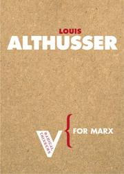 Cover of: For Marx (Radical Thinkers) (Radical Thinkers)