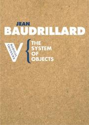Cover of: The System of Objects (Radical Thinkers)