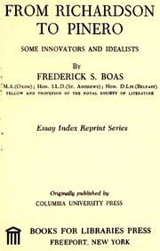 Cover of: From Richardson to Pinero | Frederick S. Boas