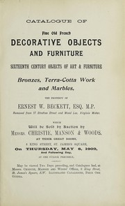 Cover of: Decorative objects and furniture; sixteenth century objects of art and furniture | Christie, Manson & Woods