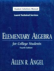 Cover of: Elementary Algebra for College Students | Allen R. Angel