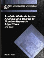 Cover of: Analytic methods in the analysis and design of number-theoretic algorithms | Bach, Eric.