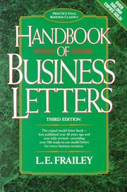 Cover of: Handbook of Business Letters (Prentice Hall Business Classics) | L. E. Frailey