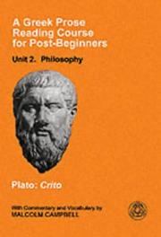 Cover of: A Greek Prose Reading Course for Post-beginners: Philosophy: Plato |