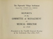 Reports of the Committee of Management and Medical Director for 1928