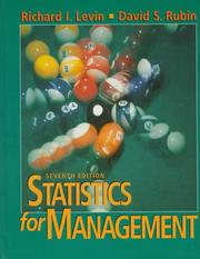 Cover of: Statistics for Management, Seventh Edition | Richard I. Levin