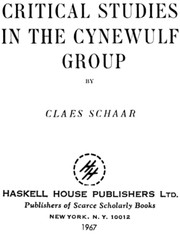 Cover of: Critical studies in the Cynewulf group